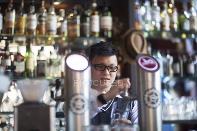 Coffee bar waiter — Stock Photo