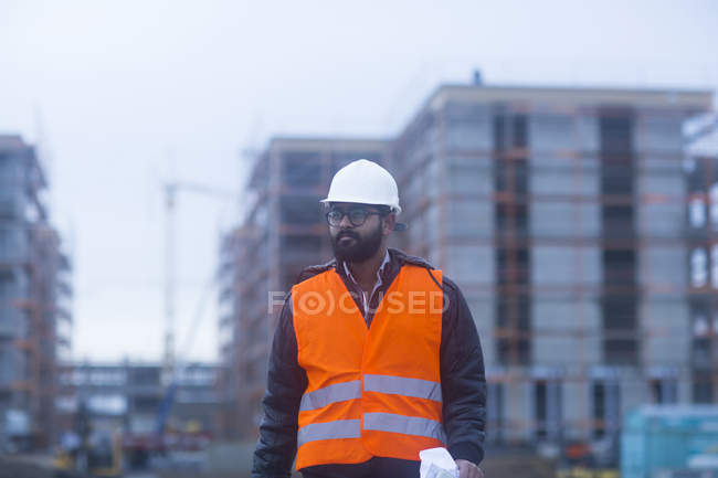 View of male civil engineer at construction site — Stock Photo