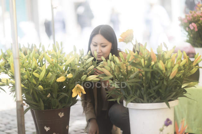 Asian woman sitting behind buckets with bunches of fresh lilies. — Stock Photo