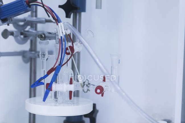 Chemical apparatus equipment in laboratory, close-up. — Stock Photo