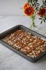 Apfelkuchen im Backblech — Stockfoto