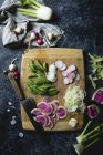 Spring greens salad with fennel — Stock Photo
