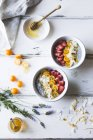Chia pudding breakfast bowls — Stock Photo