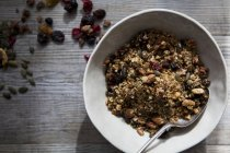 Homemade granola with nuts and raisins — Stock Photo