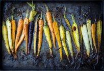 Морковь, обжига пан — стоковое фото