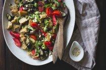 Roasted eggplant panzanella — Stock Photo