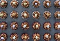 Easter chocolate crispy cakes — Stock Photo