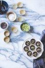 Mantequilla de pistacho chocolate salado - foto de stock