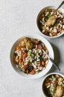 Cannelini Бін суп з пармезаном тости — стокове фото