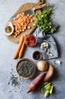 Ingredienti per la zuppa di lenticchie — Foto stock