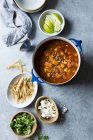 Sweet Potato and Lentil Tortilla Soup — Stock Photo