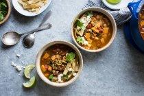 Сладкий картофель и суп из чечевицы Тортилла — стоковое фото
