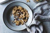Chocolate Granola Breakfast Bowl — Stock Photo