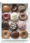 Box of dozen donuts — Stock Photo