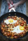 Томатный и чоризо хэш в sausepan — стоковое фото