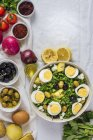 Potato salad with herbs and eggs — Stock Photo