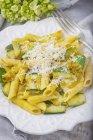 Gluten Free Pasta with basil sauce — Stock Photo