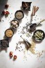 Spezie e semi in ciotole — Foto stock