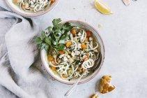 Chicken Potato Noodle Soup — Stock Photo