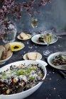 Riz noir aux aubergines et Parmesan — Photo de stock