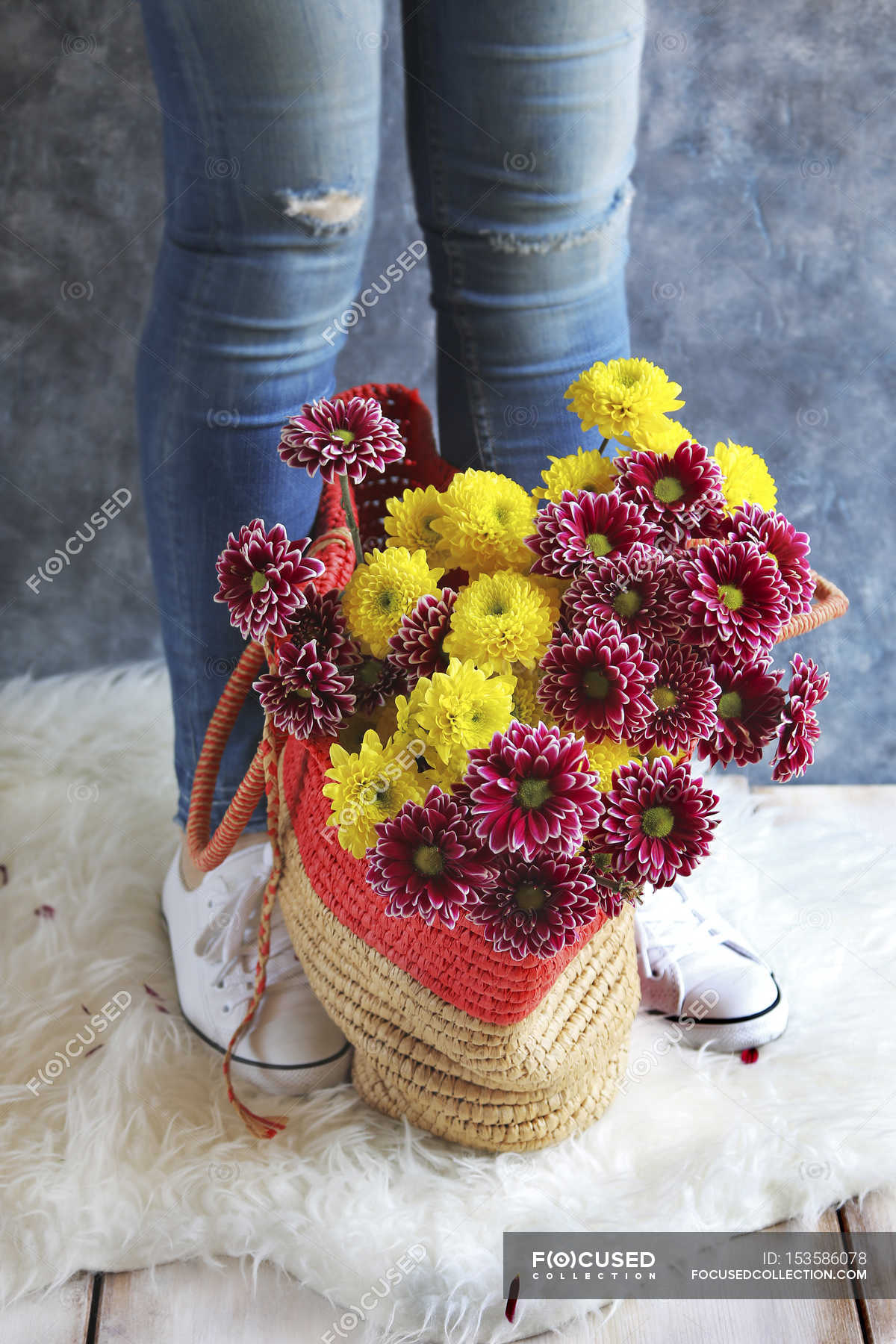 Female Legs With Fresh Daisy Flowers Stock Photo 153586078