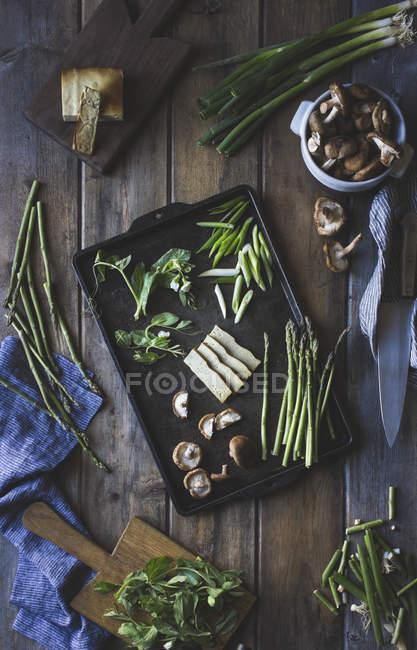 Sesam-Nudeln mit Tofu und Gemüse — Stockfoto