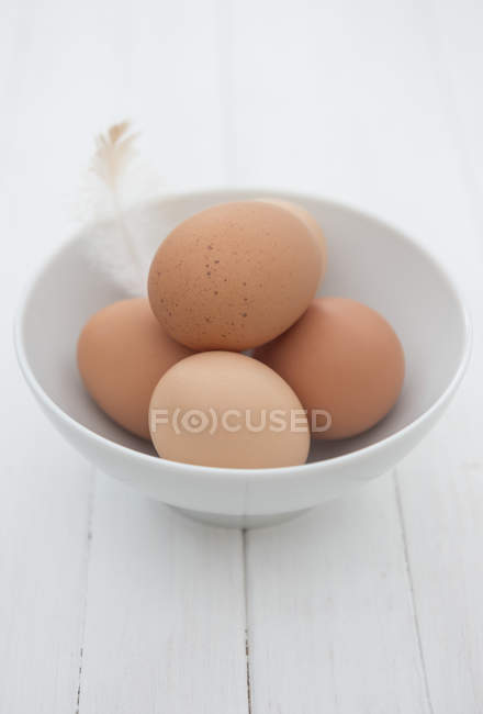 Freshly laid organic eggs in bowl — Stock Photo
