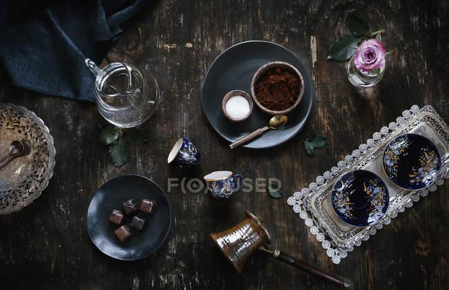 Türkischer Kaffee-Zutaten — Stockfoto