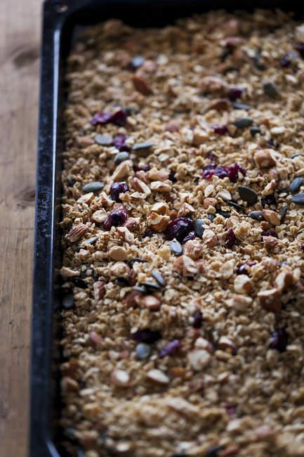 Mandeln und Cranberries hausgemachtem Müsli — Stockfoto