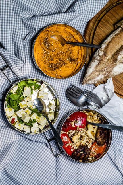 Roast veggies and carrot hummus — Stock Photo