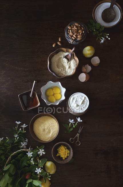 Ingredients for Polenta Cake with Ricotta and almonds — Stock Photo