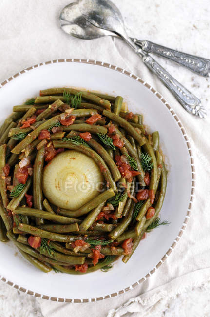 Mediterranean-Style Green Beans — Stock Photo