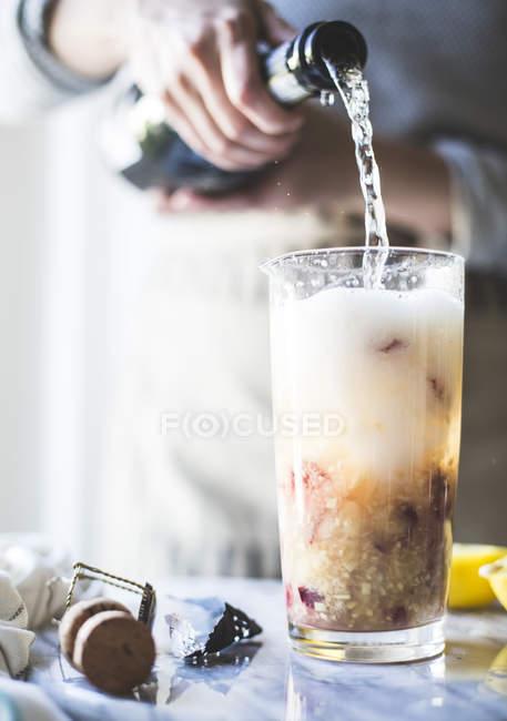 White Homemade Nectarine Prosecco — Stock Photo