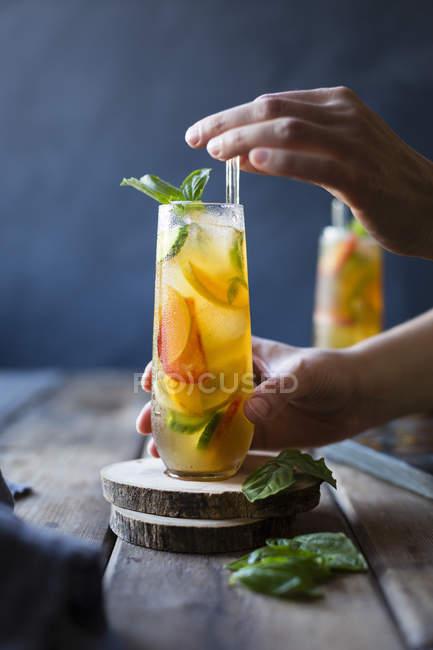 Basil Pflaume Frucht-cocktails — Stockfoto