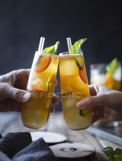 Basil plum fruit cocktails — Stock Photo