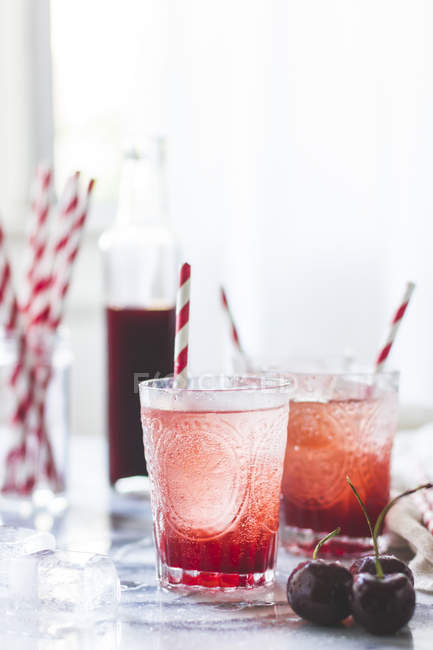 Cherry soda cocktail — Stock Photo