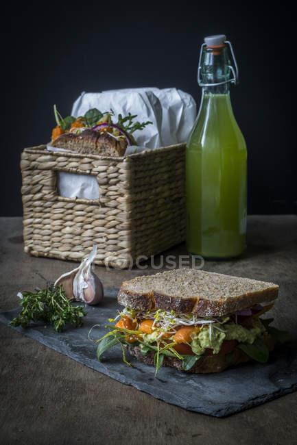 Vegan sandwiches for picnic — Stock Photo
