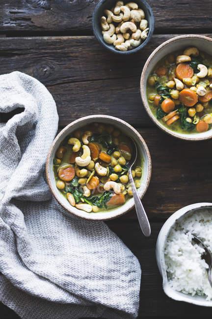 Kokos Curry Kichererbsen — Stockfoto