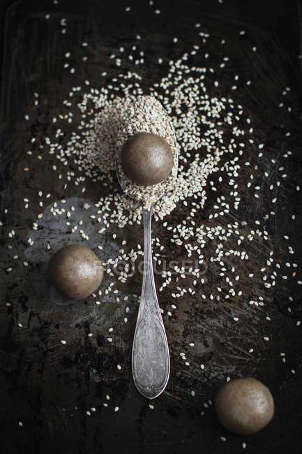 Тахини печенье с кунжутом — стоковое фото
