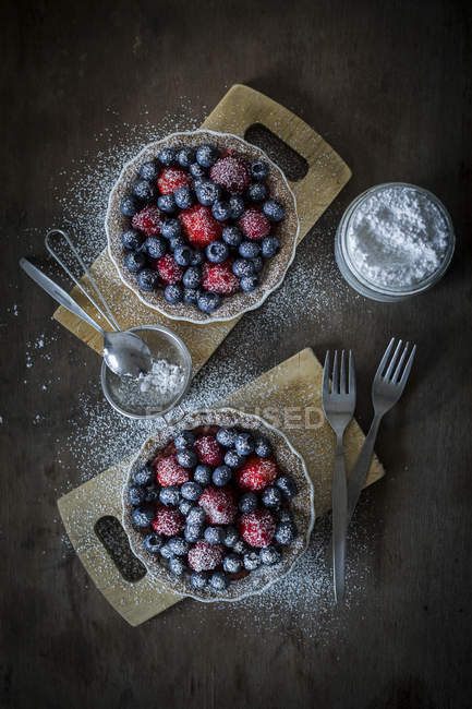 Berry tarteletes with icing sugar — Stock Photo