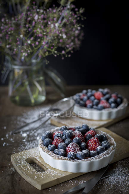 Berry tartetelets with icing sugar — Stock Photo