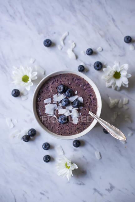 Blueberry smoothie bowl — Stock Photo