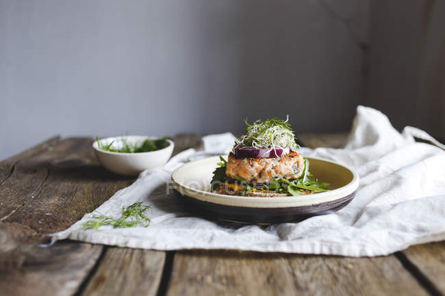 Salmon burger for lunch — Stock Photo