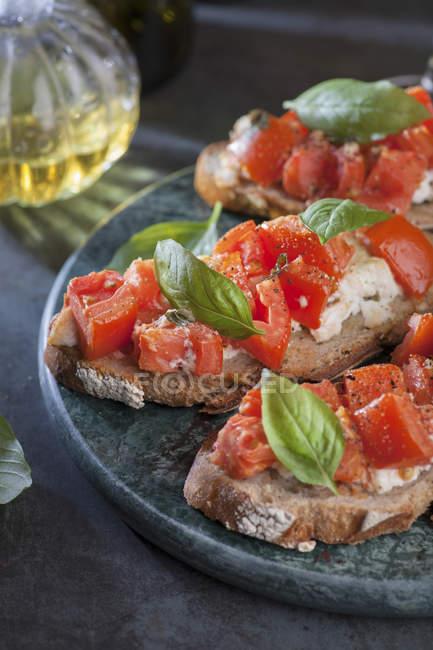 Italian tomato bruschetta — Stock Photo