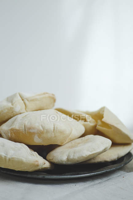 Pitas bread served on plate — Stock Photo