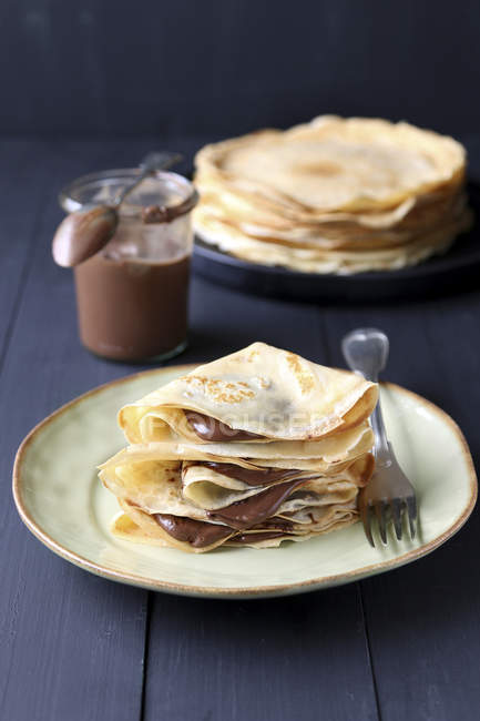 Crepes with chocolate cream — Stock Photo