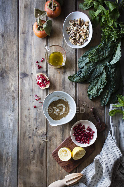 Ingredients for kale salad with herbs — Stock Photo