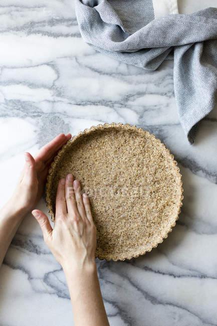 Preparing gluten free tart crust process — Stock Photo