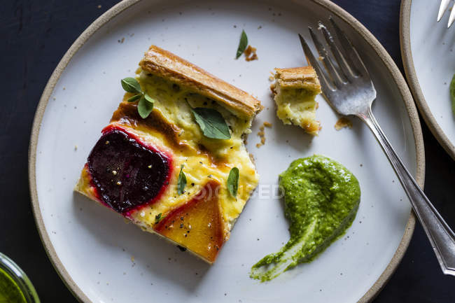 Torta di formaggio di ricotta barbabietola — Foto stock