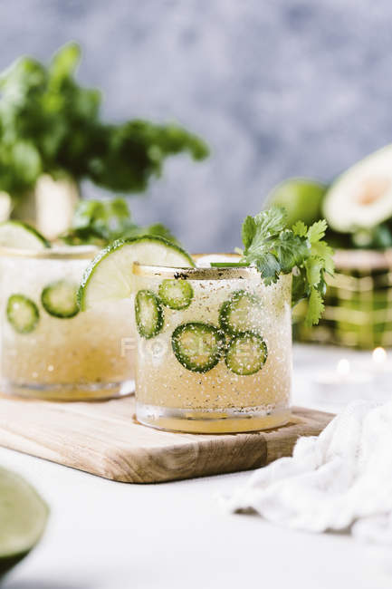 Cilantro-Infused Spicy Jalapeno Margarita — Stock Photo